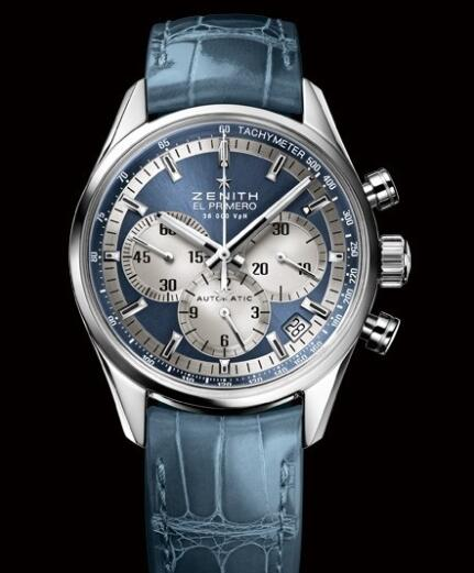 Zenith Watch for Women Replica Watch Zenith El Primero 36'000 VPH 38mm Lady 03.2150.400/51.C705 Steel - Blue Dial - Blue Alligator Strap