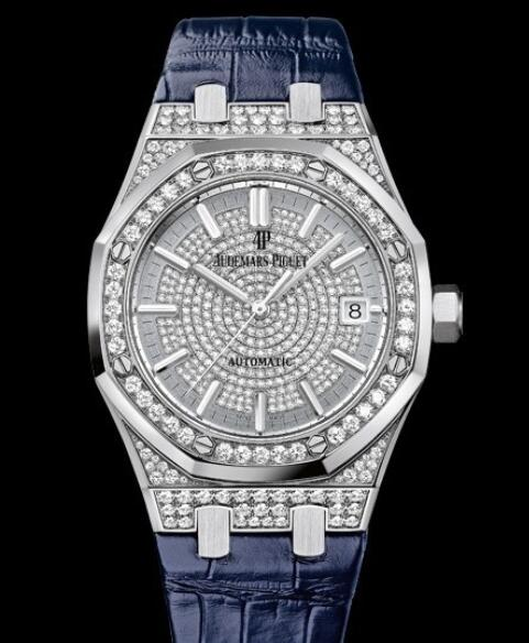 Replica Watch Audemars Piguet Royal Oak Automatique 15452BC.ZZ.D019CR.01 White Gold - Diamonds - Alligator Strap