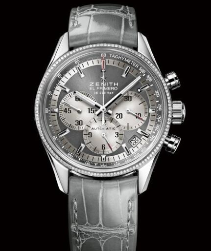 Zenith Watch for Women Replica Watch Zenith El Primero 36'000 VPH 38mm Lady 16.2150.400/21.C706 Steel - Diamonds - Grey Dial - Grey Alligator Strap