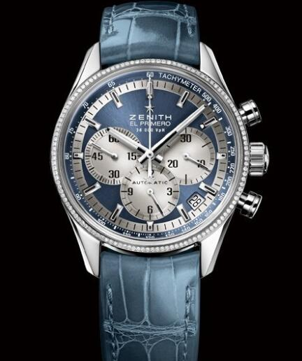 Zenith Watch for Women Replica Watch Zenith El Primero 36'000 VPH 38mm Lady 16.2150.400/51.C705 Steel - Diamonds - Blue Dial - Blue Alligator Strap