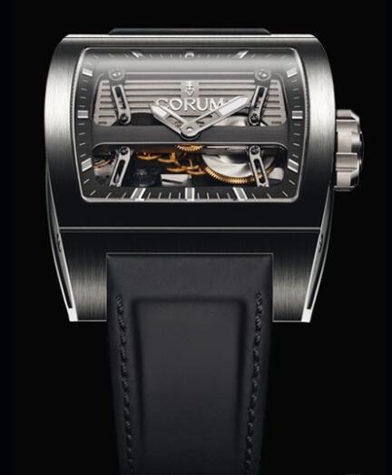 Corum Ti-Bridge Automatic Dual Winder Replica Watch 207.201.04/0F61 0000 Titanium - Leather Strap