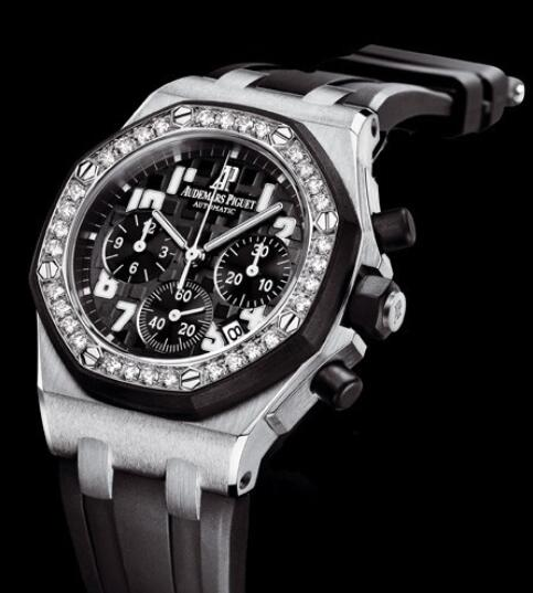 Replica Watch Audemars Piguet Chronographe Lady Royal Oak Offshore 26048SK.ZZ.D002CA.01 Steel - Setted Bezel