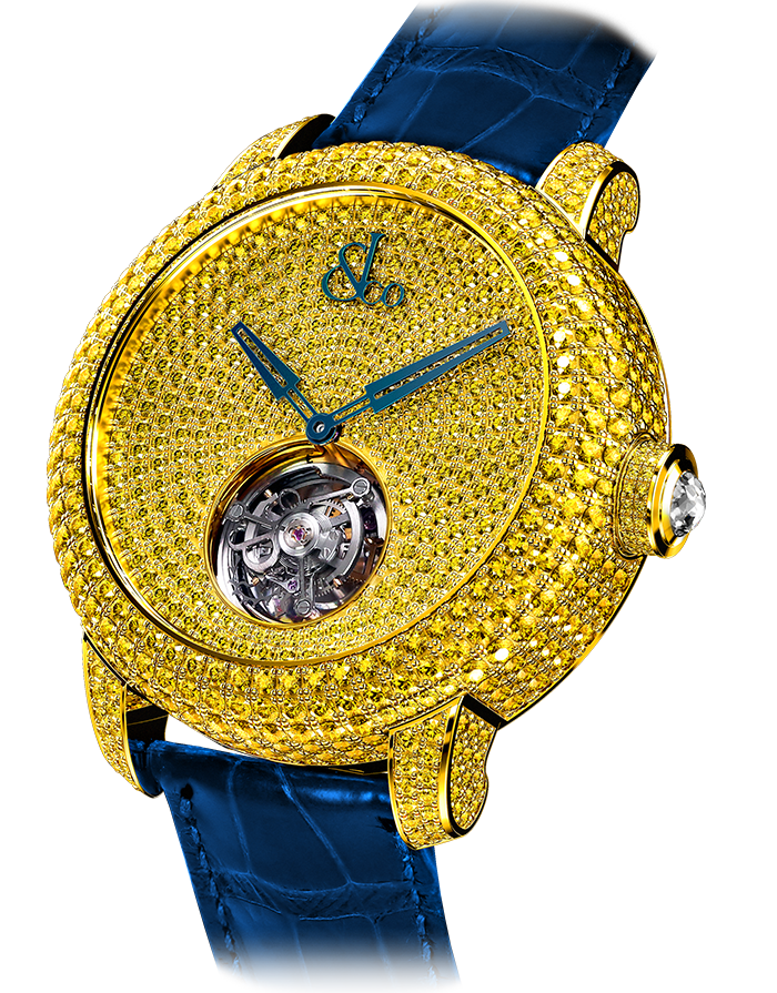 Jacob & Co. Caviar Tourbillon Pave Yellow Diamonds Watch CV201.50.RY.RY.A Jacob and Co Replica Watch