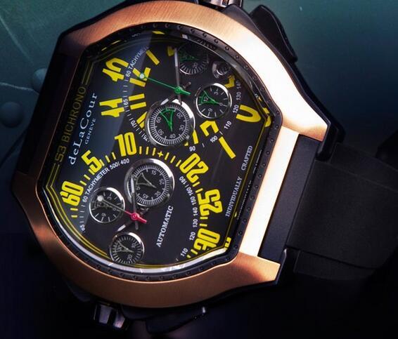 Replica DeLaCour Bichrono S3 Steel Gold Yellow Watch