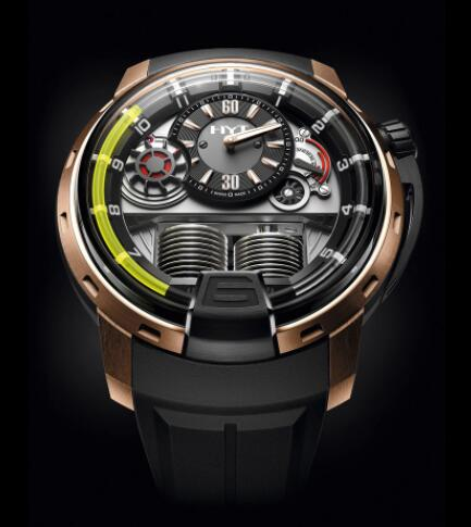 Replica HYT H1 BLACK DLC & PINK GOLD 148-DG-22-GF-LC Watch