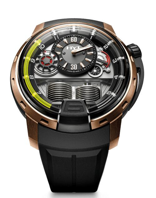 Replica HYT H1 BLACK DLC-PINK GOLD 148-DG-22-GF-RU Watch