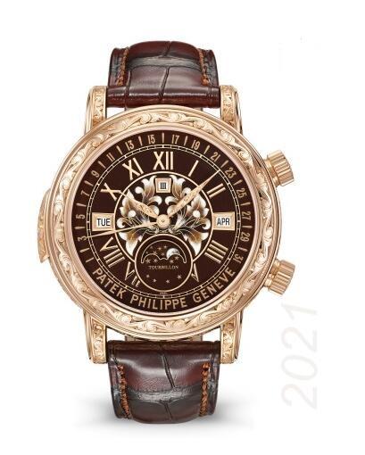 Cheapest Patek Philippe Watch Price Replica Grand Complications Sky Moon Tourbillon 6002 Rose Gold 6002R-001