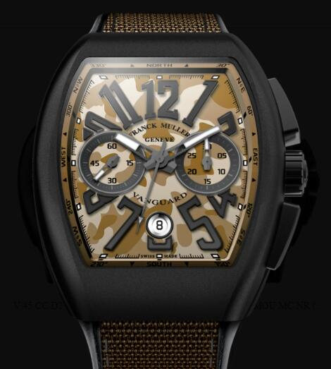Franck Muller Vanguard Camouflage Review Replica Watch Cheap Price V 45 CC DT CAMOU MC NR (SB)